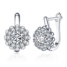 Aretes de circonita con diamantes y aretes romanticos para mujer