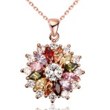 K-gold zircon fashion layered floral women's Necklace 46CM