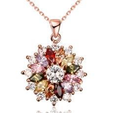 Collier femme K-gold zircon fashion en couches floral 46CM