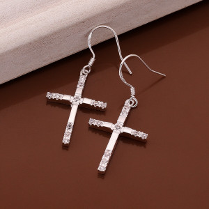Stone inlaid Cross Earrings Silver Cross shape simple Zircon Earrings