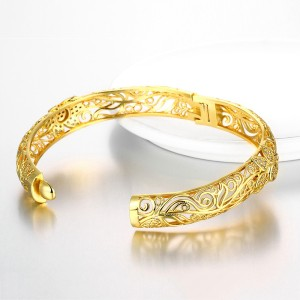 Noble and fashionable K-gold zircon carved pattern women's Gold Bracelet