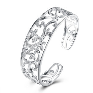 Branch with diamond zircon silver bracelet