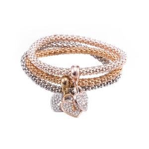 Fashion zinc alloy  three piece zircon love Elastic force bracelet