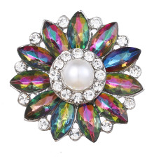 20MM design snap Silver Plated With colorful rhinestones and pearl charms KC9440 snaps jewerly