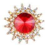 20MM snap plaqué or avec charms strass rouges KC9422 s'enclenche bijou