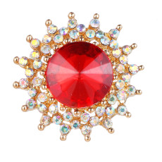 20MM snap gold Plated With red rhinestones charms KC9422 snaps jewerly