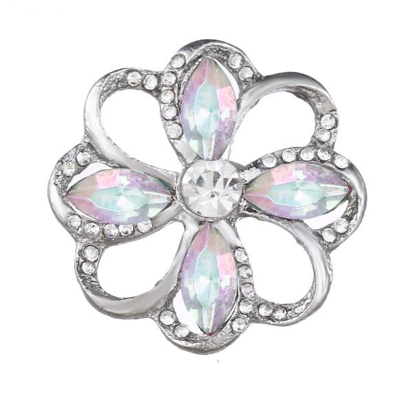 20MM design snap Plaqué Argent Avec des charmes de strass colorés KC9436 s'enclenche dans les bijoux