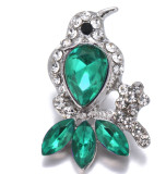 20MM Bird snap Silver Plated With green rhinestones charms KC9423 snaps jewerly