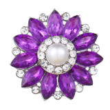 20MM design snap Silver Plated With purple rhinestones and pearl charms KC9443 snaps jewerly