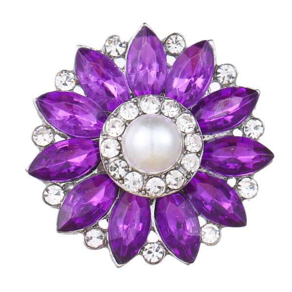 20MM design snap plaqué argent avec strass violets et breloques en perles KC9443 s'enclenche bijou