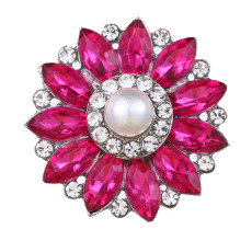 20MM design snap Silver Plated With rose red rhinestones and pearl charms KC9441 snaps jewerly