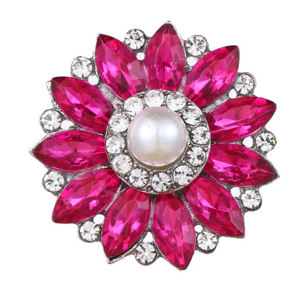 20MM design snap plaqué argent avec strass rouge rose et breloques en perles KC9441 s'enclenche bijou