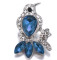 20MM Bird snap Silver Plated With blue rhinestones charms KC9424 snaps jewerly