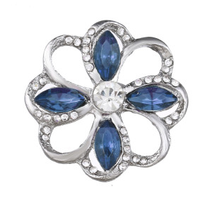 20MM design snap Silver Plated With blue rhinestones charms KC9435 snaps jewerly
