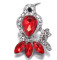20MM Bird snap Silver Plated With red rhinestones charms KC9425 snaps jewerly