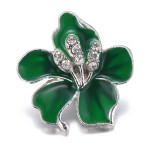 20MM snap Silver Plated  Flowers with  green enamel KC9429 snaps jewerly