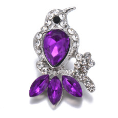 20MM Bird snap Silver Plated With purple rhinestones charms KC9426 snaps jewerly