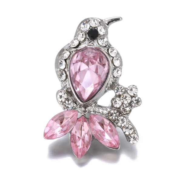 20MM Bird snap Silver Plated With pink rhinestones charms KC9428 snaps jewerly