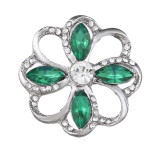 20MM design snap Silver Plated With green rhinestones charms KC9434 snaps jewerly