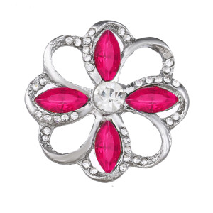 20MM design snap Silver Plated With rose red rhinestones charms KC9432 snaps jewerly