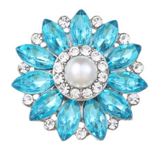 20MM design snap Silver Plated With blue rhinestones and pearl charms KC9445 snaps jewerly