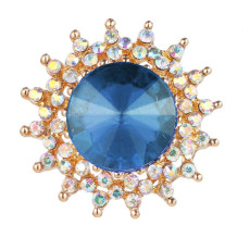 20MM snap gold Plated With blue rhinestones charms KC9421 snaps jewerly