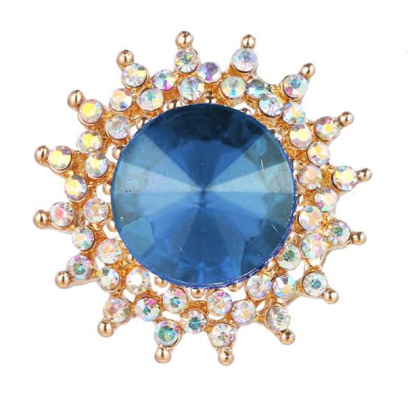20MM snap plaqué or avec charms strass bleus KC9421 s'enclenche bijou