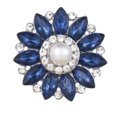 20MM design snap Silver Plated With dark blue rhinestones and pearl charms KC9444 snaps jewerly