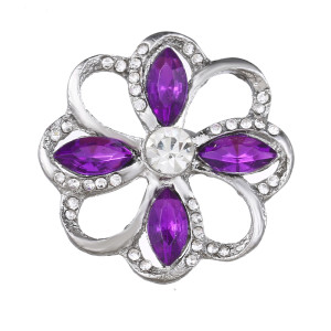 20MM design snap Silver Plated With purple rhinestones charms KC9438 snaps jewerly