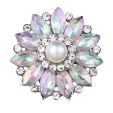 20MM design snap Silver Plated With colorful rhinestones and pearl charms KC9442 snaps jewerly