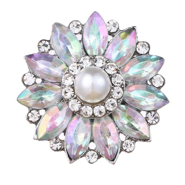 20 mm design snap plaqué argent avec strass colorés et breloques en perles KC9442 s'enclenche bijou