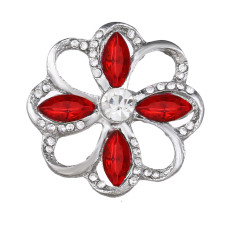 20MM design snap Silver Plated With red rhinestones charms KC9433 snaps jewerly