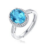 Blue Tears Princess Bague 3CT Blue Topaz Gem avec Moissanite Sterling Silver Classic Ring Platinum Plating taille réglable