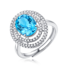 Heart of ocean ring 3CT Blue Topaz Gem with Moissanite Sterling Silver Classic Ring  Platinum plating adjustable size