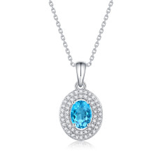 My heart will go on Necklace 1CT Topaz gemstone Moissanite Sterling Silver Pendant Necklace Platinum plating 45CM chain