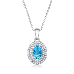 Mon cœur ira sur le collier 1CT Topaz pierres précieuses Moissanite en argent sterling pendentif collier platine plaqué 45CM chaîne