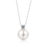 Sparkling stars and shining moon Necklace 10MM pearl Moissanite Sterling Silver Pendant Necklace Platinum plating 45CM chain