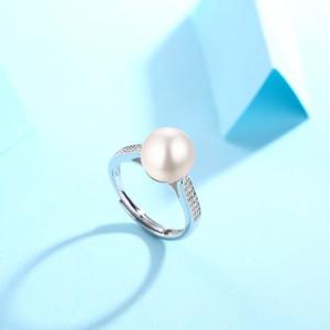Noble 8.5MM perle bague Moissanite diamant en argent sterling classique bague platine plaquage taille réglable