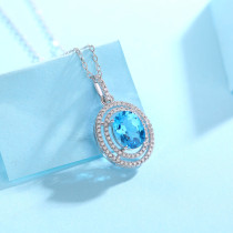 Heart of ocean Necklace 3CT Blue Topaz gems with Moissanite Sterling Silver Pendant Necklace Platinum plating 45CM chain