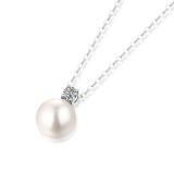Étoiles scintillantes et lune brillante Collier 10 MM perle Moissanite en argent sterling pendentif collier platine plaqué 45 CM chaîne