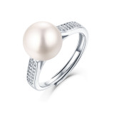 Noble 8.5MM pearl ring Moissanite Diamond Sterling Silver Classic Ring  Platinum plating adjustable size