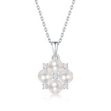 Youth bloom Necklace 4.5MM pearl Moissanite Sterling Silver Pendant Necklace Platinum plating 45CM chain