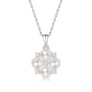 Collier de fleur de jeunesse 4.5MM perle Moissanite Collier pendentif en argent sterling Plaqué platine Chaîne 45CM