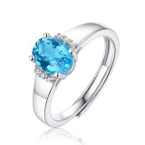 Morning of star &sea ring 1.6CT Blue Topaz gems with Moissanite Diamond Sterling Silver Classic Ring  Platinum plating adjustable size