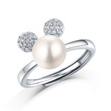 Only you ring 8.5MM pearl Moissanite Diamond Sterling Silver Classic Ring  Platinum plating adjustable size