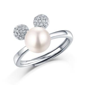 Seule vous bague 8.5MM perle Moissanite diamant en argent sterling bague classique plaqué platine taille réglable
