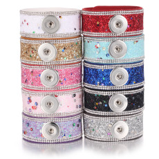 1 buttons 10 colors leather with  rhinestone new type 20MM Bracelet fit 20mm snaps chunks