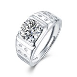 2 CT DEF Moissanite Everything goes smoothly ring male Sterling Silver Man Classic wedding Rings Platinum plating adjustable size