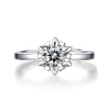 0.5-3 CT DEF VVS 6.5mm Star Ring Moissanite Diamond Sterling Silver Classic Ring Platinum Plating taille réglable