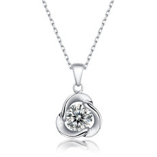 1 CT DEF 6.5mm VVS Moissanite clover necklace necklace  Sterling Silver Pendant Necklace Platinum plating 45CM chain